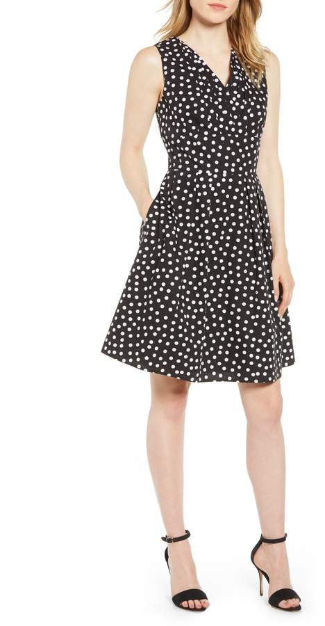 Karl Lagerfeld Paris Sleeveless Polka Dot Fit & Flare Dress