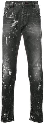 Philipp Plein Paint Splattered Slim-Fit Jeans