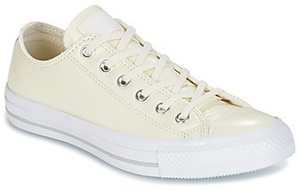 Converse CHUCK TAYLOR ALL STAR CRINKLED PATENT LEATHER OX EGRET/EGRET/WHI women's Shoes (Trainers) in White