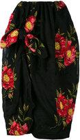 Simone Rocha floral jacquard draped skirt - women - Cotton/Polyamide/Polyester - 6