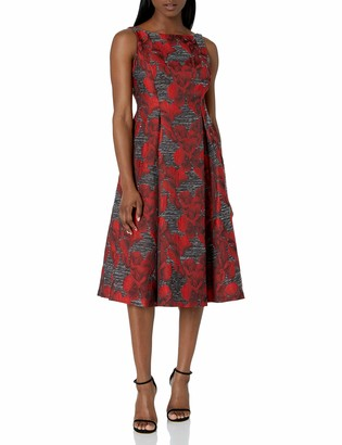 Adrianna Papell Women's Petite Sleeveless Jacquard Cocktail Dress