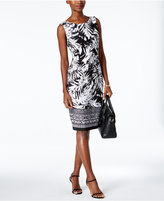 Connected Palm-Print Sarong Sheath Dress