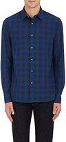 Barneys New York MEN'S BUFFALO-CHECKED COTTON DRESS SHIRT-NAVY SIZE S