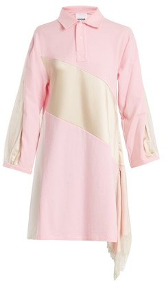Koché Lace-trimmed Oversized Cotton Shirtdress - Womens - Pink White