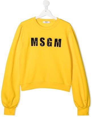 Msgm Kids TEEN sequin logo sweater