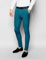 Asos Super Skinny Suit Pants In Turquoise