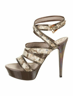 Rene Caovilla Embellished Platform Sandals multicolor