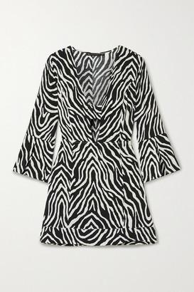 Vix Fiorella Cutout Zebra-print Voile Mini Dress - Zebra print