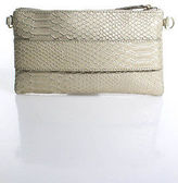 Devi Kroell Gold Beige Metallic Embossed Leather Zip Top Clutch