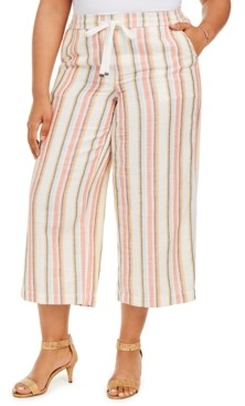 Style&Co. Style & Co Plus Size Striped Cotton Cropped Pants, Created for Macy's