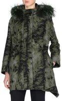 Fendi Fur-Print Parka with Fox Fur Hood, Black