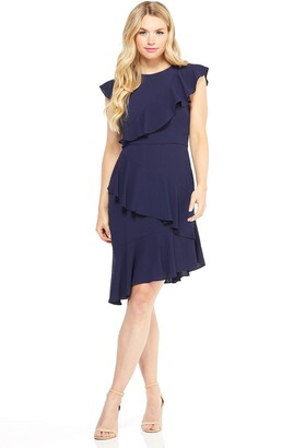 Maggy London Women's Petite Solid Crepe Asymmetric Sheath with Ruffle Detail