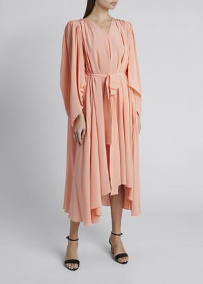 Givenchy Silk V-Neck Cape-Back Dress