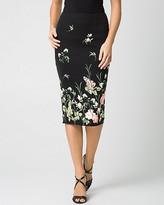 Le Château Floral Print Ponte Midi Pencil Skirt