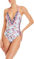 Lucky Brand Floral Strappy Back One-Piece Swimsuit
