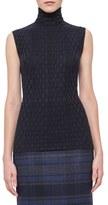 Akris Crinkle Knit Stretch Wool & Silk Knit Top