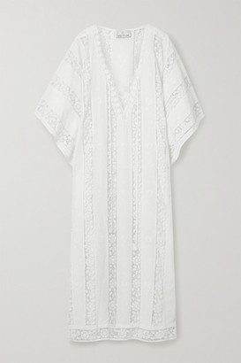 Miguelina Blair Crochet-trimmed Embroidered Cotton-voile Kaftan - White