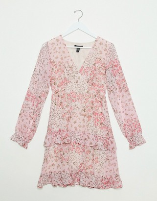 New Look chiffon tiered mini dress in pink ditsy floral print