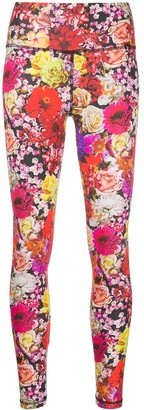 MSGM High-Waist Floral Print Leggings