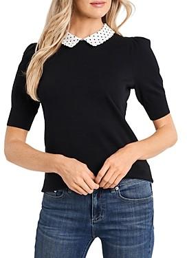 CeCe Polka Dot Collar Sweater