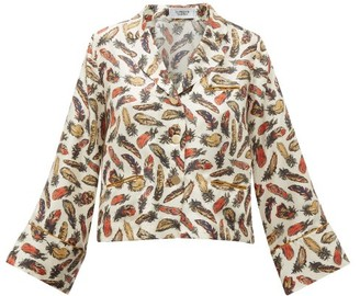 La Prestic Ouiston Feather-print Silk-twill Pyjama Blouse - White Multi