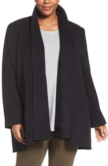 Calvin Klein Plus Size Women's Lux Basketweave Flyaway Coat