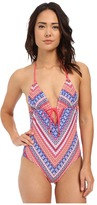 Shoshanna Chevron Tapestry Grommet Tie Front Maillot One-Piece