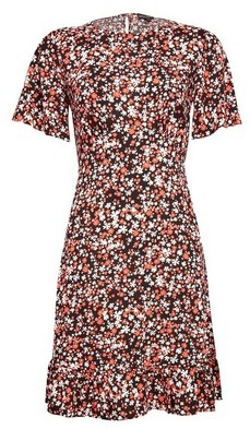 Dorothy Perkins Womens Multi Colour Floral Print Fit And Flare Dress