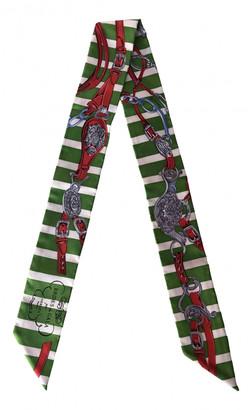 Hermã ̈S HermAs Twilly 86 Green Silk Scarves