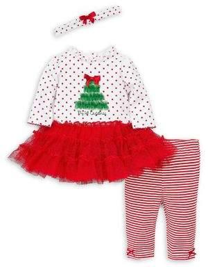 Little Me Baby Girl's Holiday Cotton-Blend Top, Leggings & Headband Set