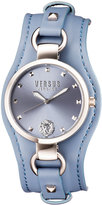 Versus By Versace 34mm Roslyn Studded Leather Cuff Watch, Blue