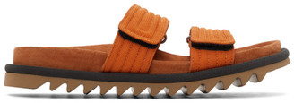 Dries Van Noten Orange Canvas and Suede Slide Sandals