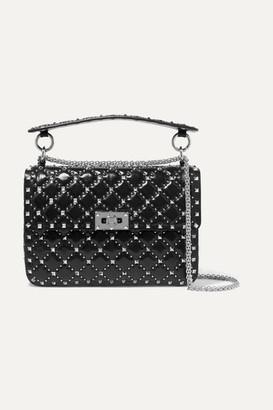 Valentino Garavani The Rockstud Spike Medium Quilted Leather Shoulder Bag - Black