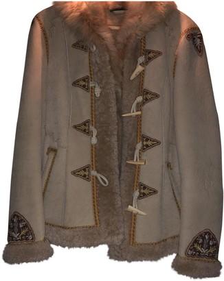 Ralph Lauren Beige Shearling Leather Jacket for Women
