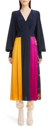 Roksanda Colorblock Long Sleeve Silk Crepe de Chine Midi Dress