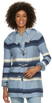 Chaps Women's Striped Toggle Hooded Cardigan