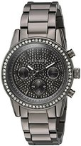 Akribos XXIV Women's Swiss Quartz with Multi-Function Pave Sparkle Dial and Swarovski Crystal Accented Bezel on Gun Metal Case and Gun Metal Stainless Steel Bracelet Watch AK926GN