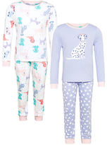 John Lewis Children's Dog Print Pyjamas, Pack of 2, Purple/Multi