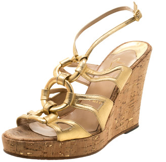 Christian Louboutin Metallic Gold Leather Ankle Strap Cork Wedge Platform Sandals Size 38