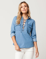 Full Tilt Lace Up Denim Womens Shirt