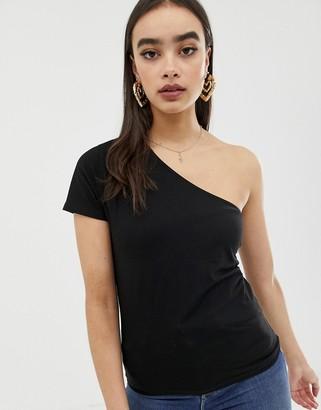 Asos Design DESIGN one shoulder t-shirt in black