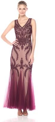 Cachet Women's V Neck Mesh Gown