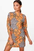 boohoo Carol Chain & Animal Print High Neck Shift Dress