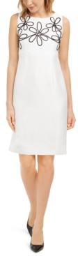 Kasper Embroidered Sleeveless Sheath Dress