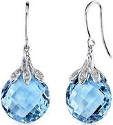 Ice 16 CT TW Swiss Blue Topaz 14K White Gold Earrings with Diamond Accents
