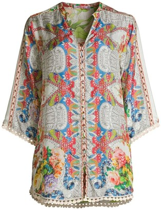 Johnny Was Blush Three-Quarter Sleeve Silk Blouse