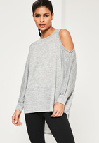 Missguided Grey Cold Shoulder Oversized Tunic