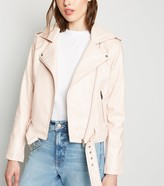 New Look Leather-Look Belted Biker Jacket