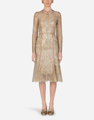 Dolce & Gabbana Lame Lace Longuette Dress