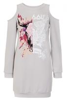 Quiz Grey Rock Print Cold Shoulder Jumper Dress